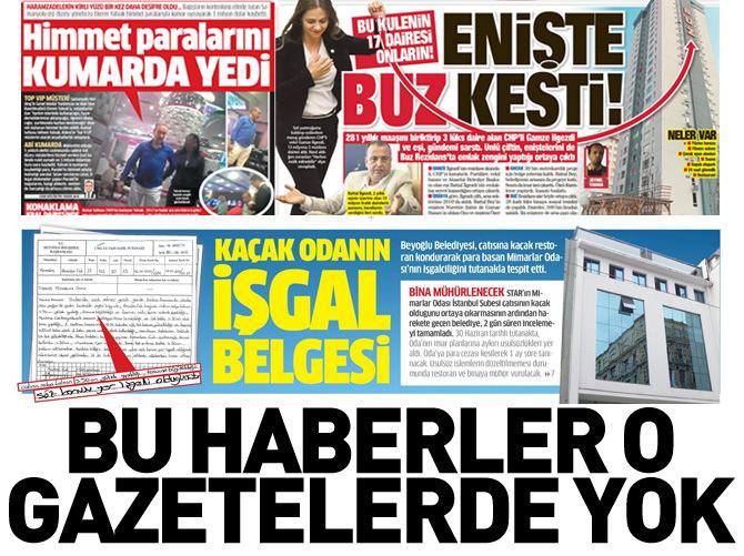 BU HABERLER HÜRRİYET'TE CUMHURİYET'TE YOK