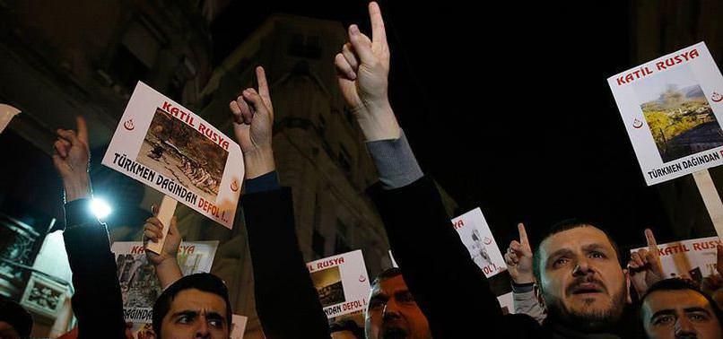 RUSYA'NIN TÜRKMENLERE SALDIRILARI PROTESTO EDİLDİ