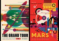 NASA'dan baskıya hazır retro uzay turizmi posterleri