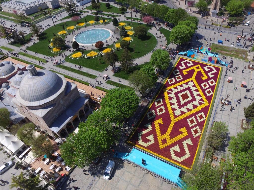 Sultnahmet Meydanı'na 1453 metrekarelik lale halı