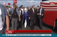 Cumhurbaşkanı Erdoğan tören alanına böyle geldi